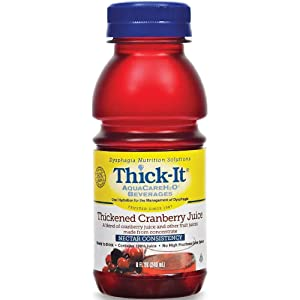 Thick-It AquaCare H2O: Pre-Thickened Cranberry Juice, Nectar-thick liquid, (1 Case: 24 x 8 oz. Bottles)