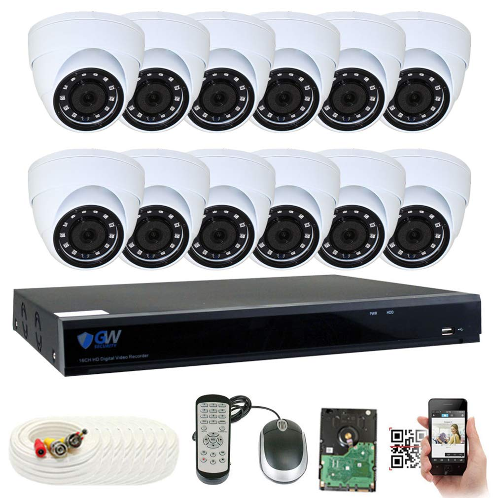 GW Security 16 Channel DVR 4TB HDD CCTV 5MP Video Audio Surveillance Security Camera System – 12 x 5MP HDTVI Weatherproof Microphone Dome Cameras
