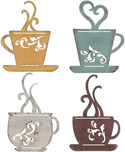Collection Metal Coffee Cup Wall, Kitchen Restaurant Coffee Shop Decor Set of 4