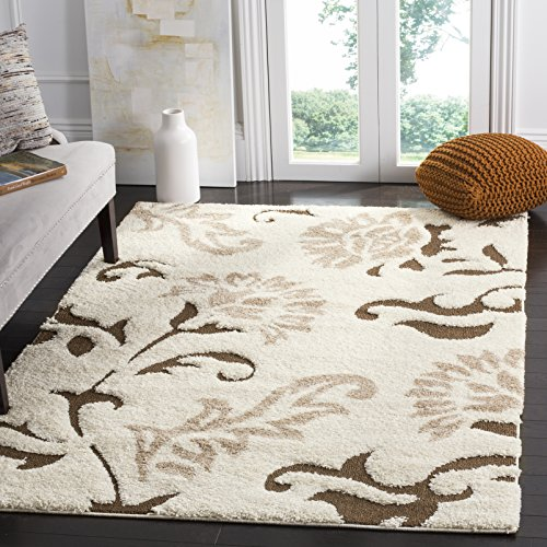 Safavieh Florida Shag Collection SG463-1128 Cream and Dark Brown Area Rug (5'3