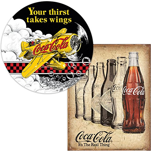 Set  Retro Coke Your Thirst Takes Wings And Coca Cola Real Thing Tin Signs