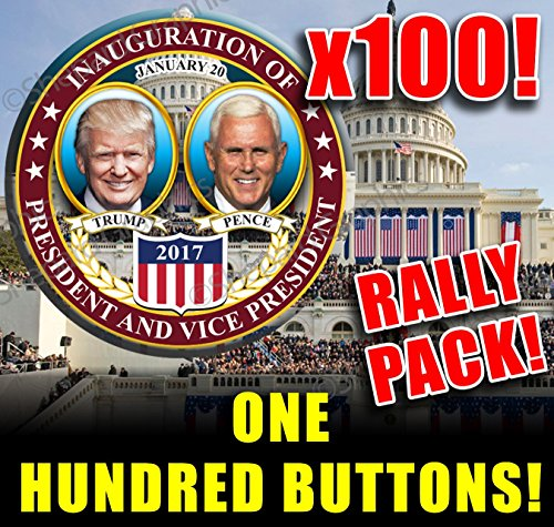 (100 BUTTON SUPER VALUE WHOLESALE BULK PACK! *** DONALD TRUMP MIKE PENCE PRESIDENTIAL INAUGURATION Buttons Pins Badges! - ONE HUNDRED BUTTONS!)
