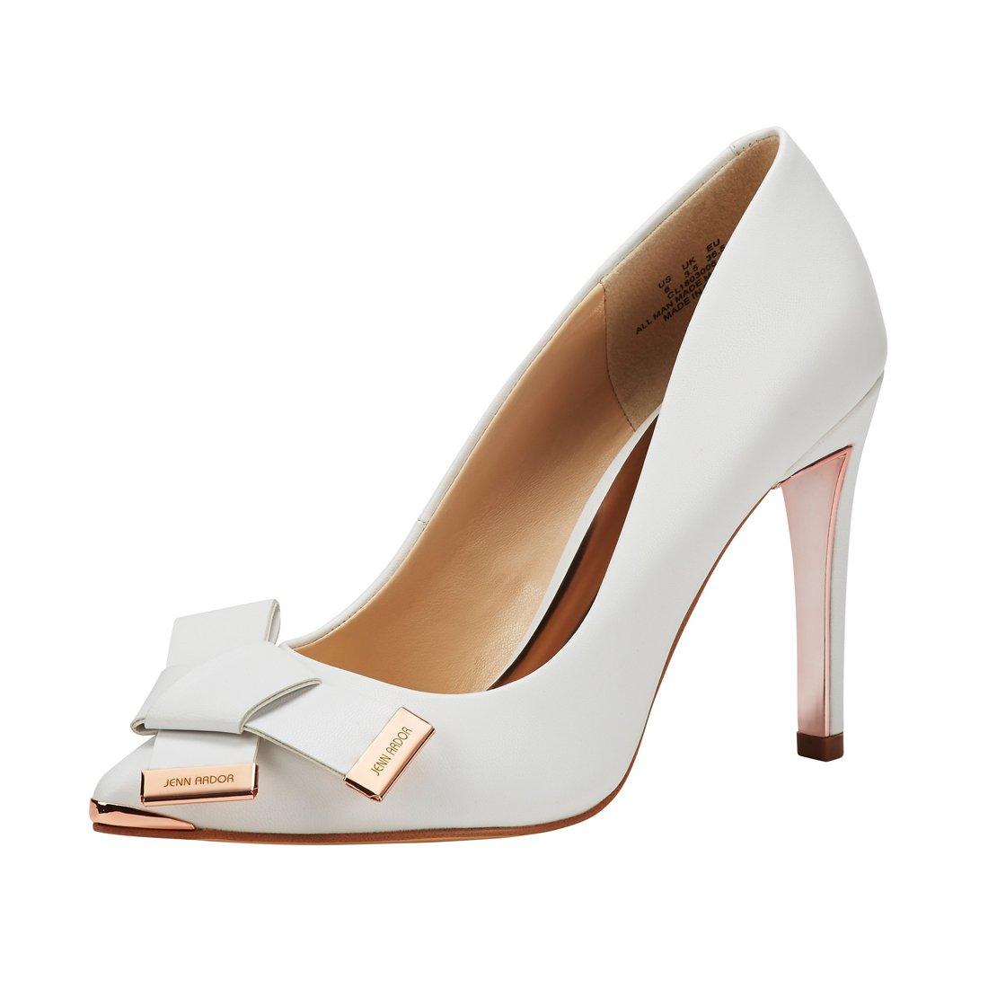JENN ARDOR Women's Stiletto High Heel Pumps Pointy Toe Leather Bowknot Slip On Bridal Wedding Shoes White 10 B(M) US (26.38 CM)