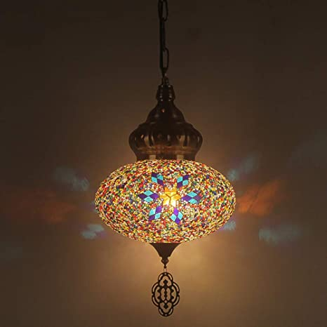 Amazon.com: CCSUN Lámpara de araña de cristal turco, lámpara ...