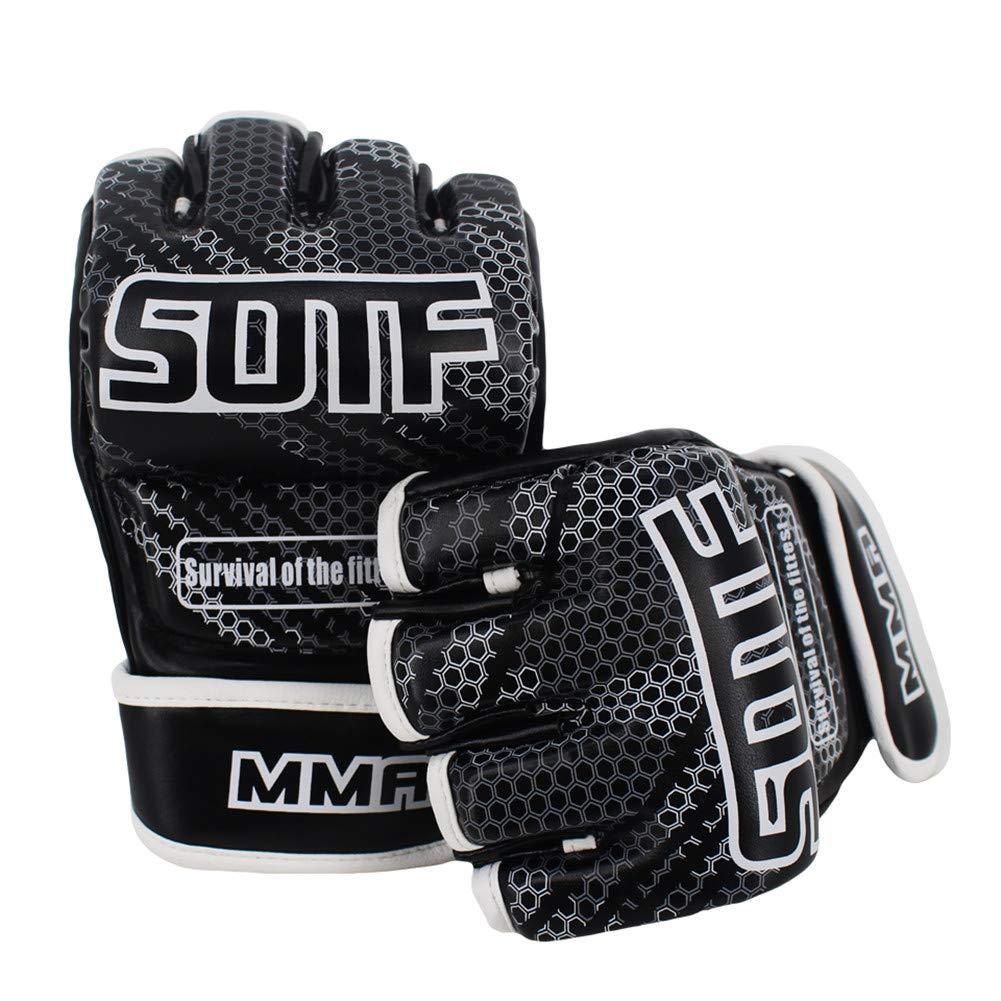Black Geometric Fitness Training Boxing MMA Gloves Tiger Muay Thai Sanda Men Boxing Pads Boxe Thai Fight MMA Glove Box MMA CARWORD