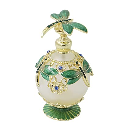 ca2e98b35669 Amazon.com: Hophen Dragonfly Refillable Empty Glass Frosted Perfume ...