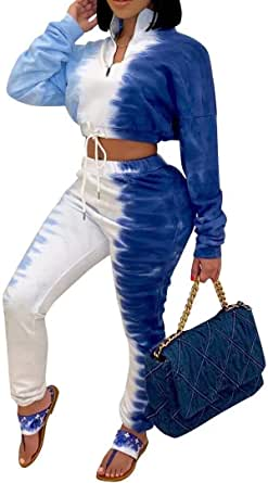 IyMoo Sexy 2 Piece Outfits Tracksuit for Women - Ombre Zipper Pullower Cropped Sweatshirt Bodycon Pants Sets Sweatsuit