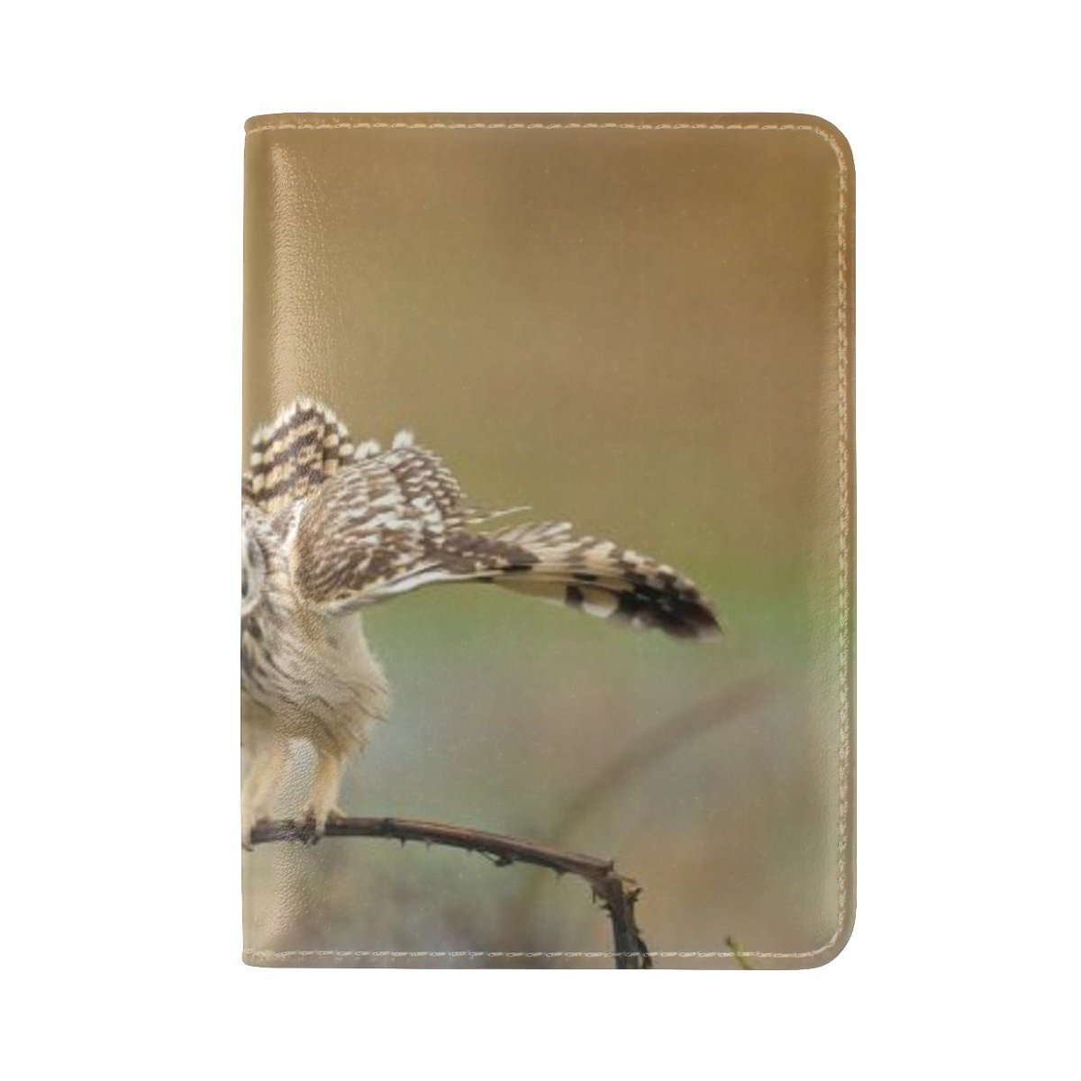 Animal Owl Short-eared Flying Walking Swollen Beautiful Best Natural Leather Passport Holder Cover Case Travel One Pocket