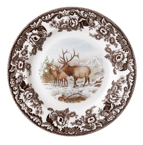 American Wildlife Collection Dinner Plate (Spode Woodland American Wildlife Elk Dinner Plate)