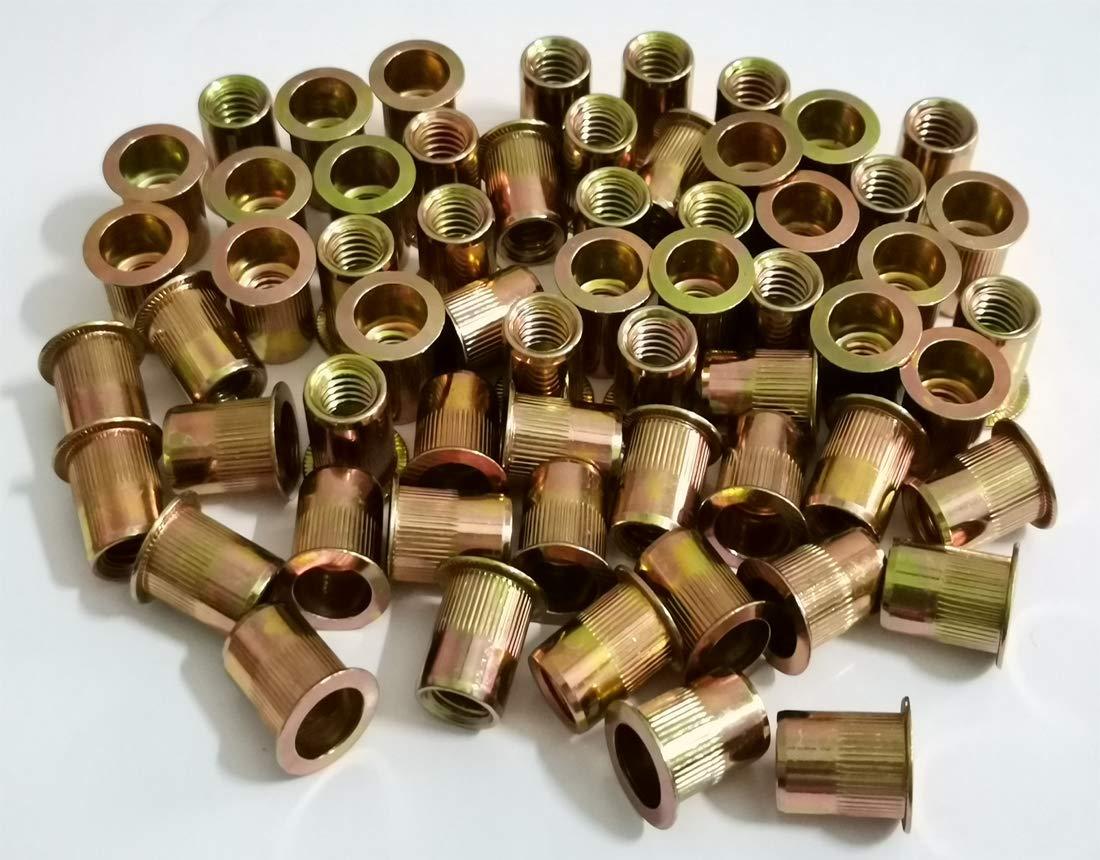 Qovydx 50Pcs 1//2-13UNC Rivet Nuts Carbon steel Flat Head Rivnut Threaded Insert Nutsert