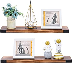 Homics Solid Pine Floating Shelves for Wall, Set of 2 Modern Rustic Wall Mounted Shelves for Bedroom, Bathroom, Office, Kitchen, Wooden Shelves with Decorative Iron Corner Decor