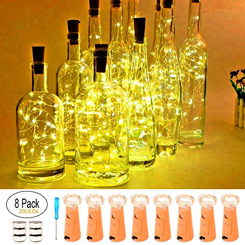 Wine Bottle Lights with Cork , 20 LED Battery Operated fairy string lights Mini Copper Wire Bottle Lights for DIY, Party,Decor,Christmas,Thanksgiving Day,Wedding(Warm White 8 Pack) (Bottle Art Wine)