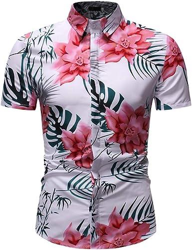 CAOQAO Camisa de Moda de Verano para Hombre, Color Rosa, Camisa de Manga Corta, Camisa de Manga Larga, Camisa de Manga Corta y Camisa de Negocios.: Amazon.es: Ropa y accesorios