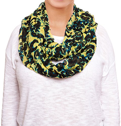Chatties Ladies Abstract Animal Print Infinity Loop Scarf (Yello/Black Leopard)