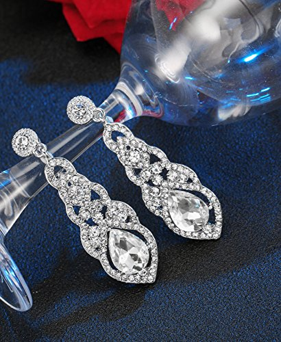 Hanpabum Bridal Wedding Jewelry Set Women Bracelets Dangle Teardrop Earrings Set Women Jewelry Made Clear Crystals (Earings Bracelets) by Hanpabum (Image #5)