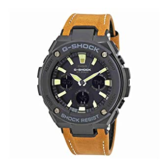 ecfc9fd19 Image Unavailable. Image not available for. Color: Casio G-Shock Steel  Black Dial Leather Strap Men's Watch ...