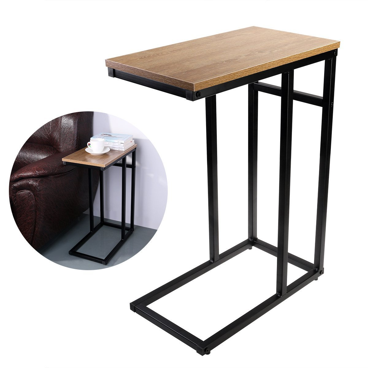 OULII Sofa Side End Table C Table Small, Snack Table with Wood Finish and Steel Construction for Coffee, Snack, Tablet