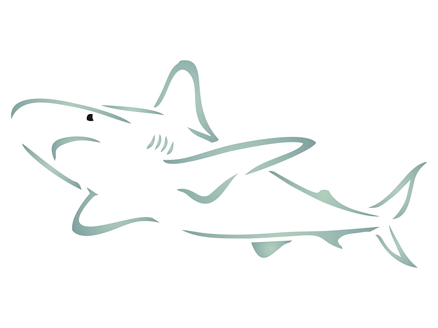 Shark Stencil - 12 x 6 inch (L) - Reusable Sea Ocean Nautical Seashore Reef Wall Stencils for Painting - Use on Paper Projects Scrapbook Journal Walls Floors Fabric Furniture Glass Wood etc.