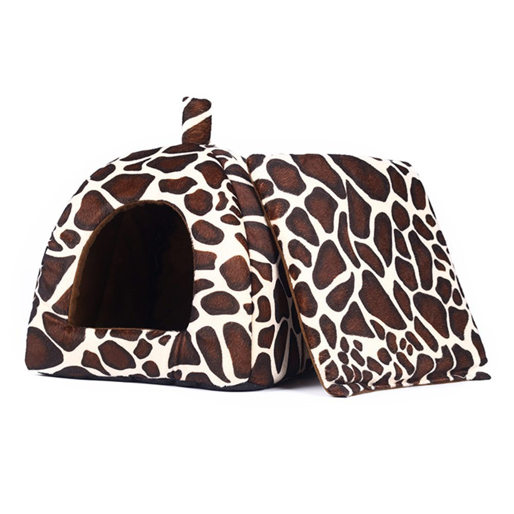 Spring Fever Rabbit Dog Cat Pet Bed Small Big Animal Puppy Supplies Indoor Water Resistant Beds Leopard L (16.916.90.8 inch) by Spring Fever