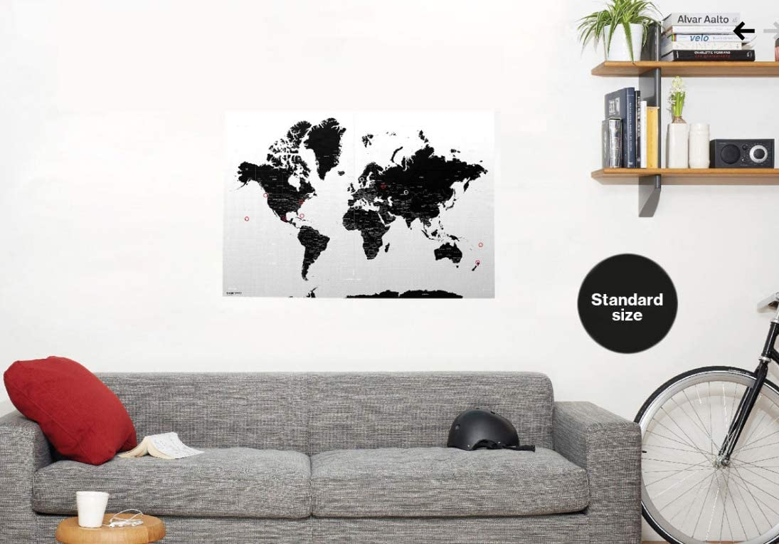 """Magic World Map Poster w/ 176 Dots~39"""" x 27.5"""" 