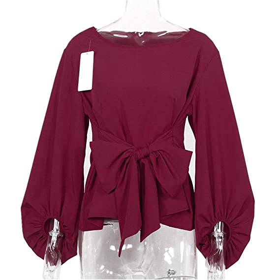 Qvyh Fashion Lantern Long Sleeve Blouses with Bow Belt Loose Casual Tops at Amazon Womens Clothing store: