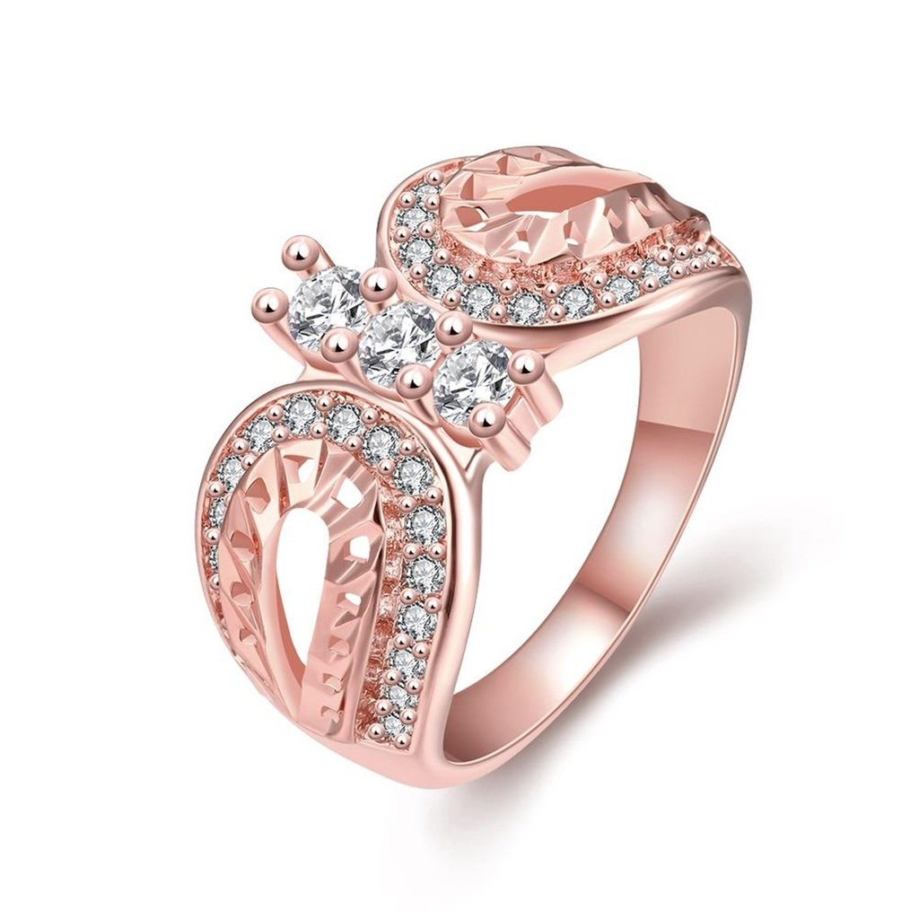AmDxD Jewelry Gold Plated Women Rings Rose Gold Inlaid CZ Butterfly Style Size 8