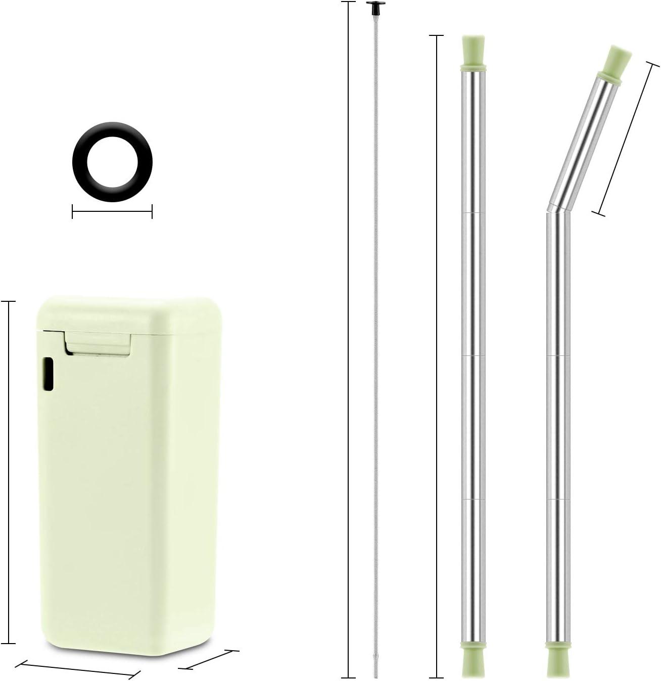 spazzola per la pulizia Blu Cannuccia in acciaio INOX con portachiavi pieghevole riutilizzabile Qisiewell