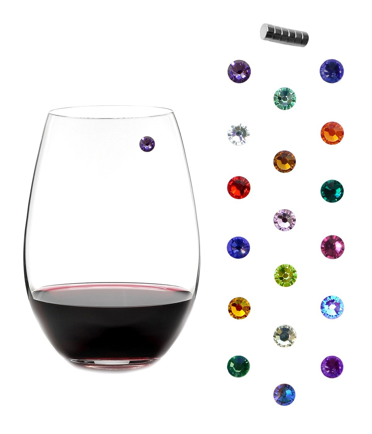 Swarovski Crystal Magnetic Wine Charms - Bundle of 3 Sets of 6 - Makes 18 Unique Glass Markers by Simply Charmed