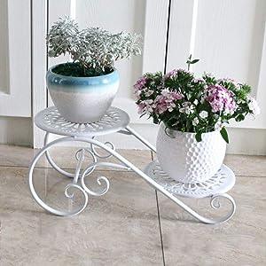 STANDSHELF&FL Classic Plant Stand Metal Plant Display Shelf with 2 Holders Potted Plant Rack Organizer Decorative Flower Pots Holder Unit-White