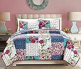 Awad Home Fashion 3 Piece Elegant Quilt Bedspread Coverlet Set Floral Patchwork, QS-24 (California King)