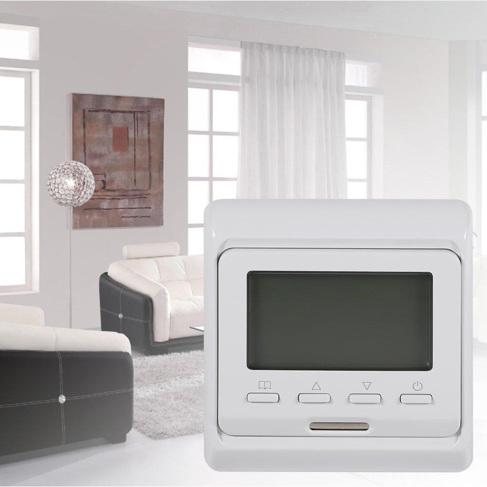 Thermostat chauffage /électrique Affichage num/érique programmable thermostat bo/îtier de chauffage au plancher sol cadeau hiver AC 230V
