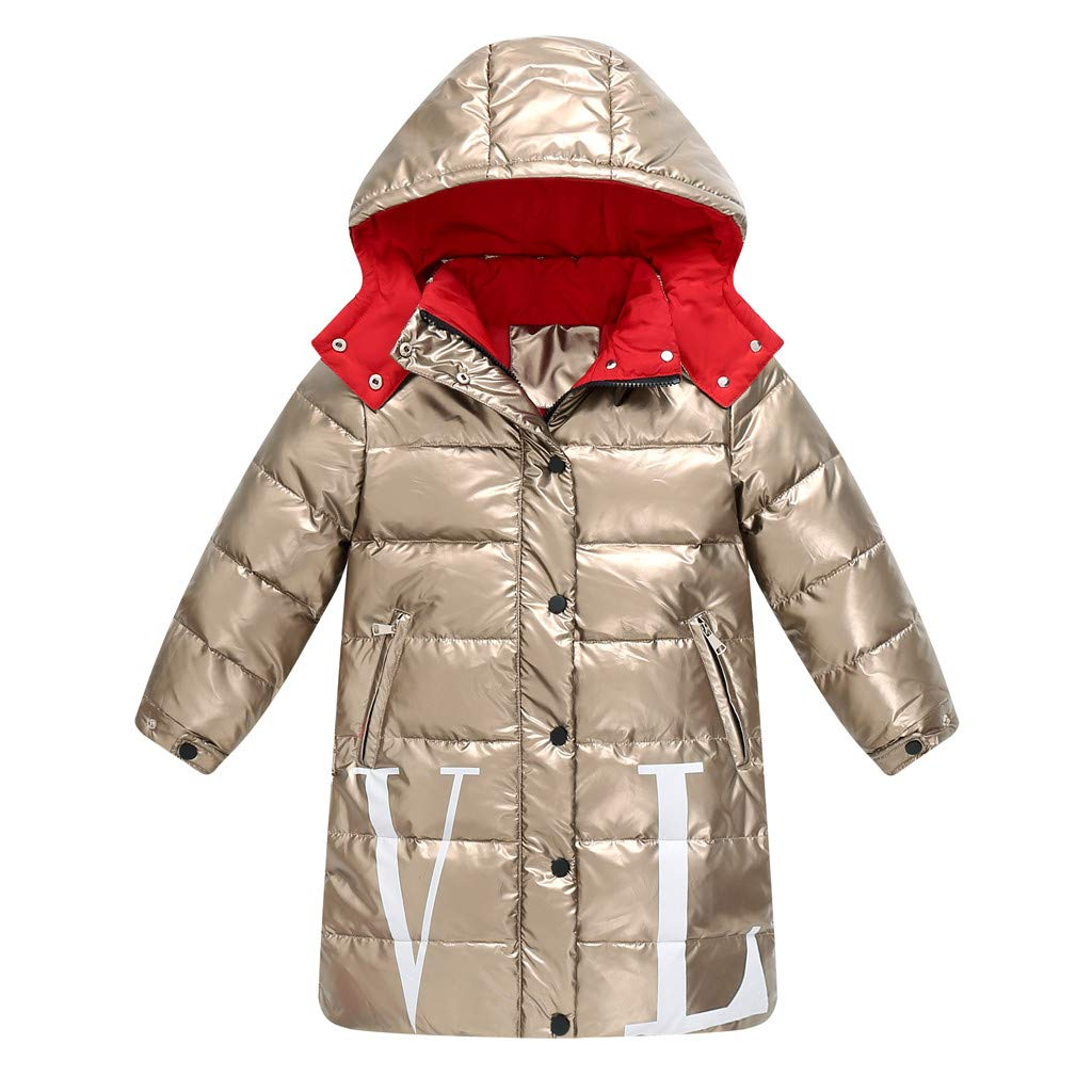 Gallity Kids Girls Hooded White Duck Down Parkas Lightweight Winter Outerwear Water-Resistant Puffer Coat Jacket (13-14 Years, Gold) by Gallity Baby Clothes