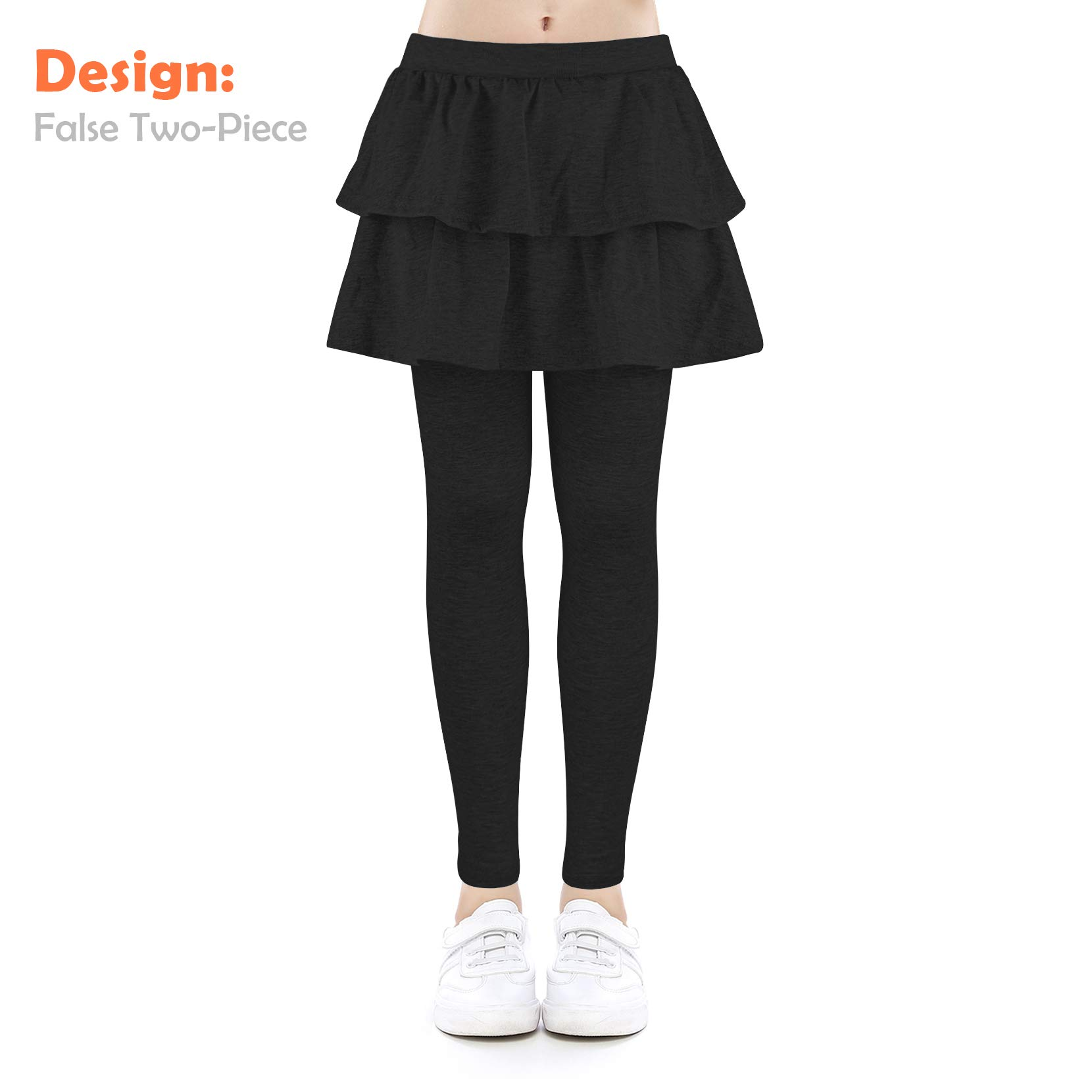 slaixiu Girls Ruffle Skirt Stretchy Leggings Skirtpants 4-11 Years(GP12_Black_120)