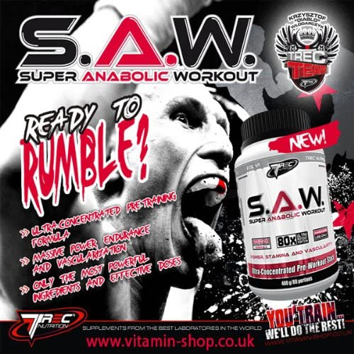 S A W POWDER 400g MUSCLE STRENGTH SUPER ANABOLIC WORKOUT SAW TREC NUTRITION FREE P P