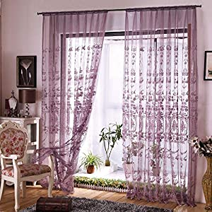 Aside Bside Victorian Design Sheer Curtain Luxurious Pattern Embroidered Rod Pocket Top Window Decoration for Living Room Bedroom and Office (1 Panel, W50 x L63 inch, Purple Bottom+Silver Embroidery)