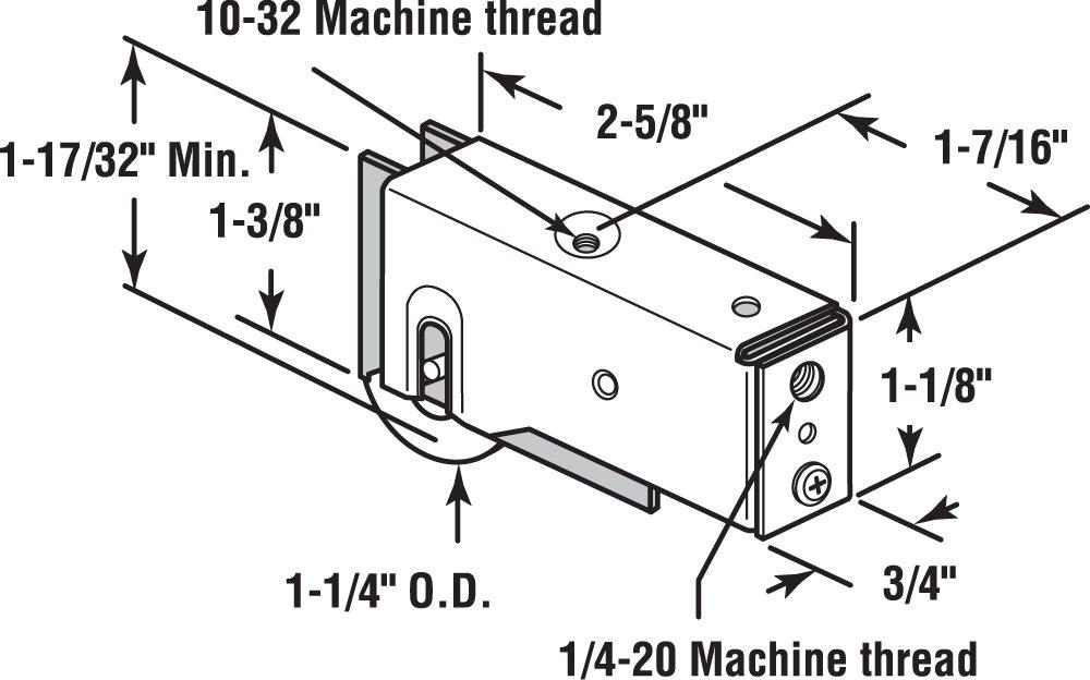 Slide-Co 13135-1.25 Sliding Patio Door Roller Assembly, 1-1/4-Inch