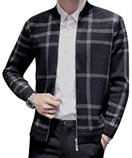 DFBB Men Quilted Warm Stand Collar Plaid Print Slim Winter Puffer Coat