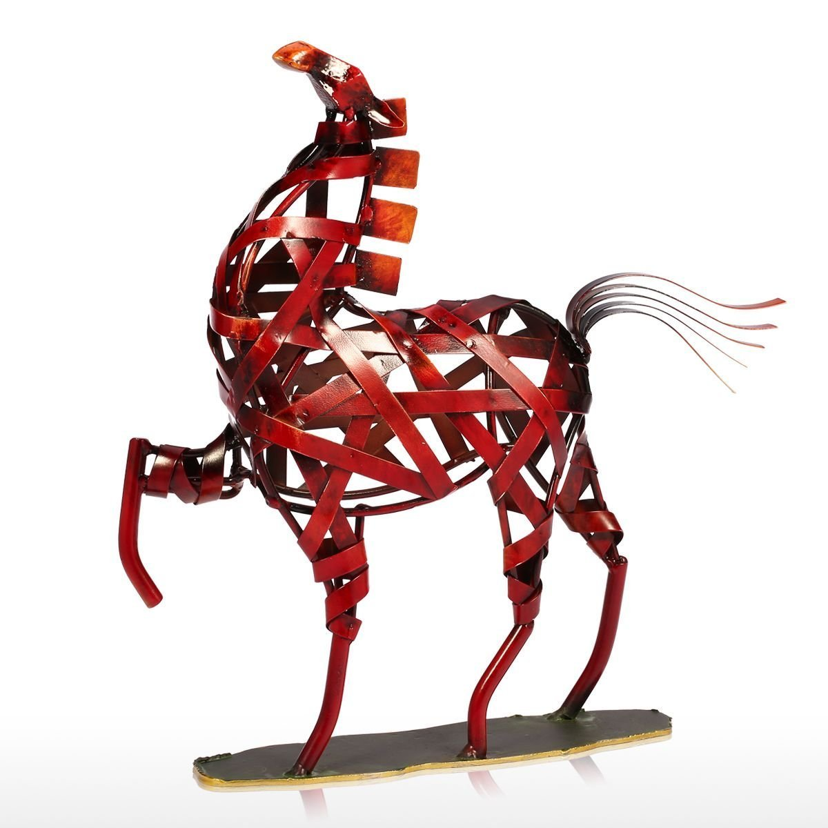 Tooarts Metal Weaving Horse Modern Sculpture Home Decoration Furnishing Handicrafts