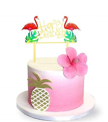 Sakolla Glitter Flamingo Cake Toppers Pineapple Happy Birthday Decoration Tropical Hawaiian Luau Themed Party Supplies