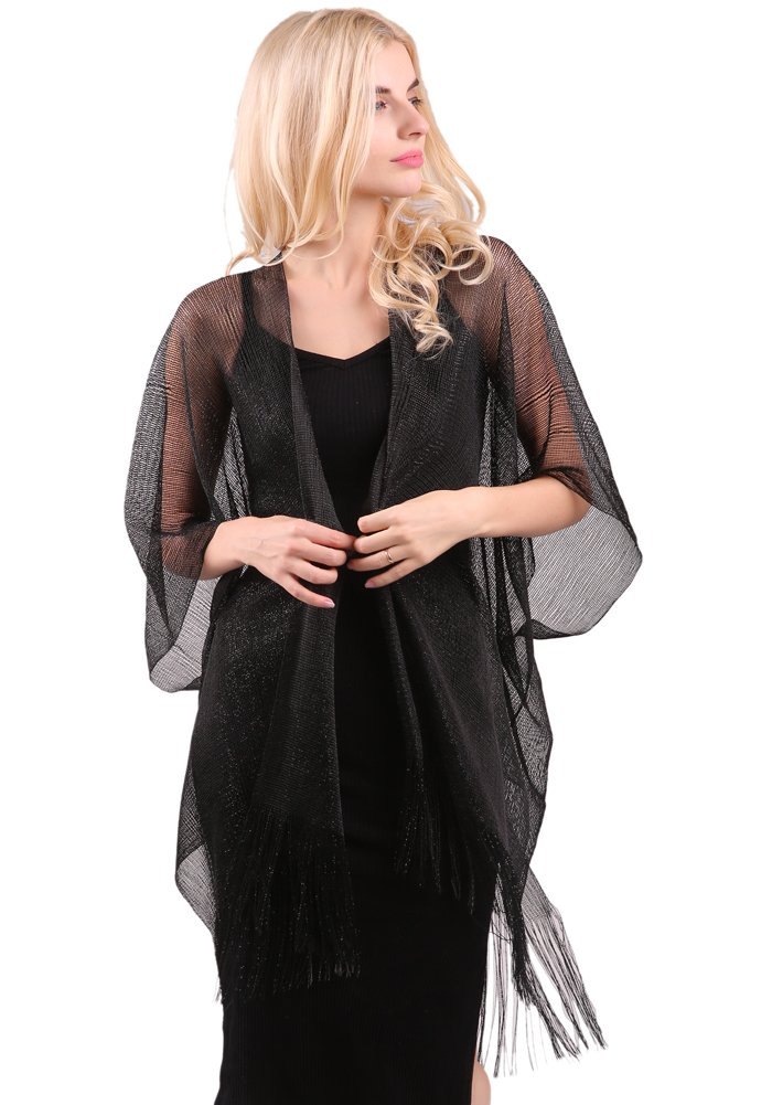 MissShorthair Womens Glitter Open Front Cardigans Sheer Metallic Long Kimono with Tassel by MissShorthair (Image #1)