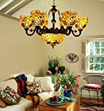 Makenier Vintage Tiffany Style Stained Glass Deep-yellow Rose Flower 6 Arms Chandelier with 12 Inches Inverted Ceiling Pendant Lamp
