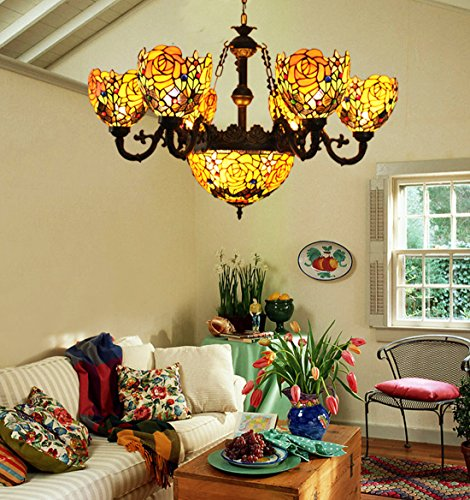 Makenier Vintage Tiffany Style Stained Glass Deep-yellow Rose Flower 6 Arms Chandelier with 12 Inches Inverted Ceiling Pendant (Six Arm Chandelier)