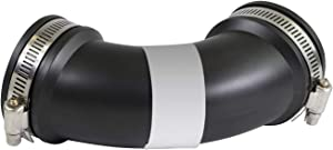 SUPPLY GIANT 6I74 Flexible Elbow Coupling 1-1/2 Inch Black with Stainless Steel Clamps 90 Degree, 1 1
