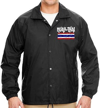Interstate Apparel Mens Muay Thai Thailand Flag Chest Black Fleece Zipper Hoodie Black