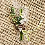 Hochzeitsanstecker 'Rosen und Efeu', weiß - 5 Set - Gästeanstecker zur Hochzeit mit kleinen Rosen