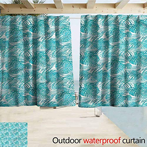 MaryMunger Rod Pocket Top Blackout Curtains/Drapes Pale Blue Camo Pattern Tropical Simple Stylish Waterproof W72x72L Inches