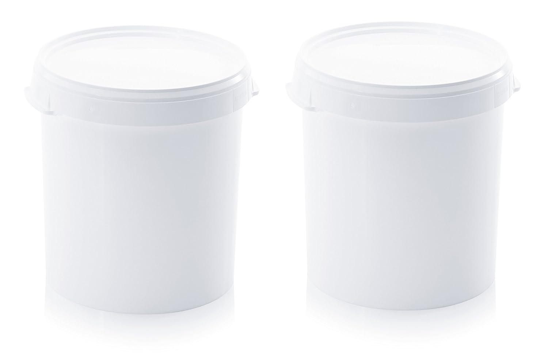 in plastica set da 2 colore: bianco senza staffa per alimenti 2 secchi da 30 l con coperchio