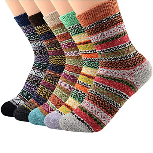 5 Pairs Womens Winter Socks Vintage Soft Cozy Warm Thick Knit Wool Crew Socks for Boots 5 Pairs Stripes
