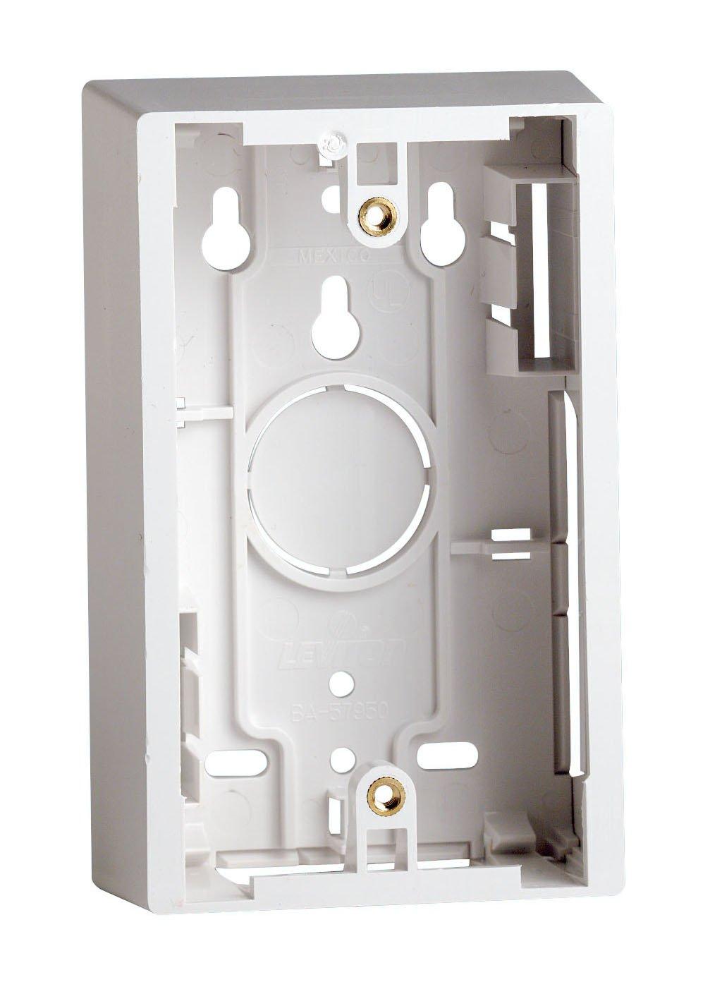 Leviton 42777 2wa Surface Mount Backbox Dual Gang Box Depth Is Wiring Metal Back R04 00w Single White