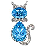 "J.NINA ""Cat Baron"" Animal Style Women Jewelry Necklace, Made with Swarovski Crystals, Lucky Cat Pendand for your Daughter & Girlfriend"